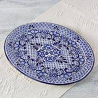 Ceramic serving plate, 'Colonial Lady' - Authentic Talavera Style Ceramic Oval Plate from Mexico