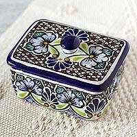 Ceramic box, 'Colonial Lady' - Authentic Mexican Talavera Style Ceramic Box