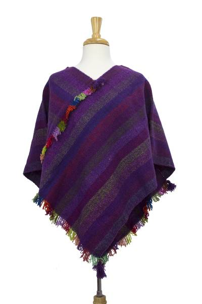 Zapotec wool poncho, 'Wine' - Striped Purple Hand Woven Zapotec Wool Poncho from Mexico