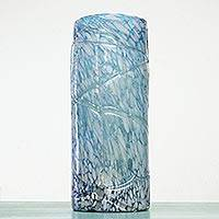 Blown glass vase, 'Blue Water Cylinder' (large) - Hand Blown Glass 15-Inch Modern Mexican Vase