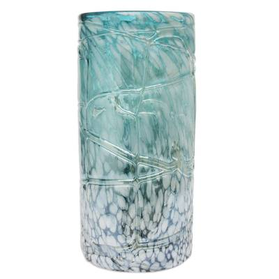 Blown glass vase, 'Blue Water Cylinder' (medium) - Mexican Hand Blown Glass 12-Inch Modern Style Vase