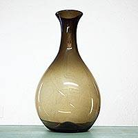 Blown glass vase, 'Amber Illusions' - Modern Mexican Hand Blown Glass 20-Inch Amber Vase