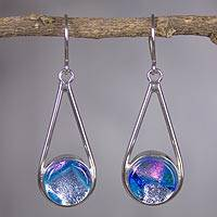 Dichroic art glass dangle earrings, 'Tulum' - Mexican Dichroic Art Glass Handmade Silver Hook Earrings