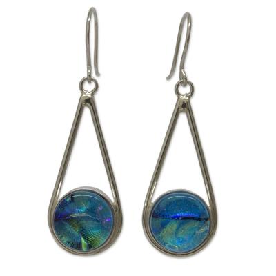 Dichroic art glass dangle earrings, 'Tulum' - Mexican Dichroic Art Glass Handmade Silver Hook Earrings