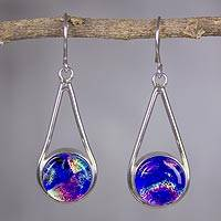 Dichroic art glass dangle earrings, 'Blue Rainbows' - Artisan Crafted Silver and Dichroic Art Glass Hook Earrings