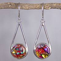 Dichroic art glass dangle earrings, 'Splendor' - Multicolor Dichroic Glass and Silver Dangle Earrings