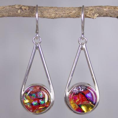 Dichroic art glass dangle earrings, 'Splendor' - Multicolor Dichroic Glass and Silver Dangle Earrings