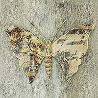 Iron wall sculpture, 'Musical Butterfly' - Music Theme Hand Crafted Iron Butterfly Wall Sculpture