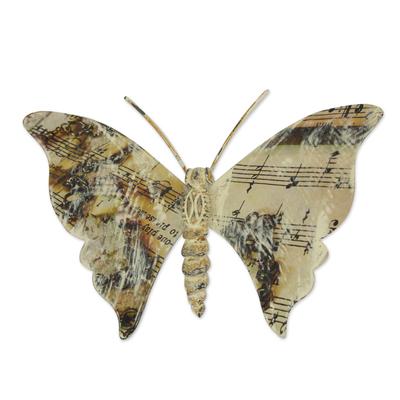 Iron wall sculpture, 'Musical Butterfly' - Music Theme Hand Crafted Iron Butterfly Wall Sculpture