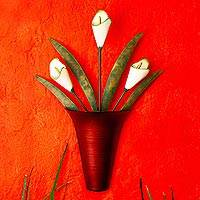 Iron wall sculpture, 'Calla Lily Bouquet' - Hand Crafted Floral Lily Bouquet Iron Wall Sculpture