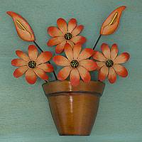 Iron wall sculpture, 'Bright Daisy' - Mexico Fair Trade Iron Daisy Floral Wall Sculpture