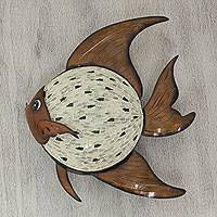 Glass mosaic iron wall lamp, 'Enchanted Fish' - Iron and Glass Mosaic Fish Sculpture Wall Lamp from Mexico