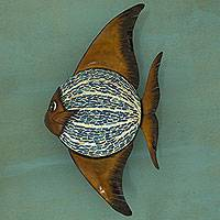 Glass mosaic iron wall lamp, 'Angelfish' - Artisan Crafted Iron and Glass Mosaic Fish Wall Lamp