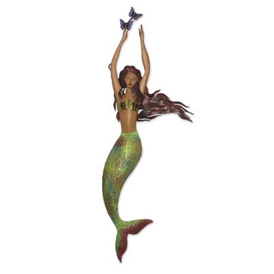 Iron wall sculpture, 'Mermaid with Butterflies' - Hand Made Mermaid and Butterfly Iron Wall Sculpture
