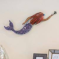 Iron and glass mosaic wall sculpture, 'Mermaid and Turtle'