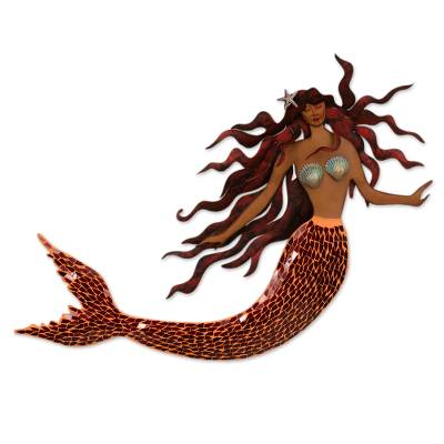 Iron and glass mosaic wall sculpture, 'Ocean Queen' - Handmade Iron and Glass Mosaic Mermaid Wall Sculpture