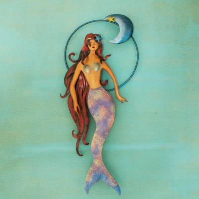 Iron wall sculpture, 'Mermaid Moon' - Mexican Mermaid Wall Sculpture Hand Made of Iron