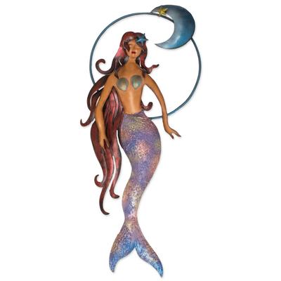 Mexican Mermaid Wall Sculpture Hand Made Of Iron Mermaid Moon Novica