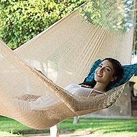 Hammock, 'Caribbean Beach' (double) - Hand Crafted Ivory Nylon Maya Hammock (Double)