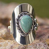 Turquoise wrap ring, 'Precious Teardrop' - Natural Turquoise Artisan Crafted Taxco Silver Wrap Ring