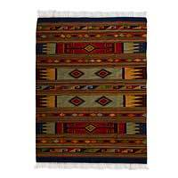 Zapotec wool rug, 'Corn Universe' (6.5x10) - Hand Loomed Wool Zapotec Rug with Natural Dyes (6.5x10)