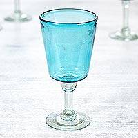 Blown glass wine glasses, 'Caribbean Blue' (set of 4) - Set of 4 Blue Hand Blown Stemware Wine Glasses from Mexico