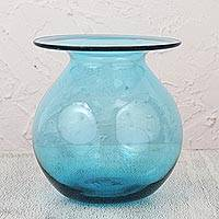 Blown glass vase, 'Azure Bubble' - Blue Blown Glass Vase Crafted by Hand in Mexico