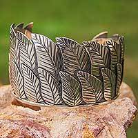 Sterling silver cuff bracelet, 'Jungle Leaves' - Artisan Crafted Sterling Silver Cuff Bracelet Taxco Jewelry