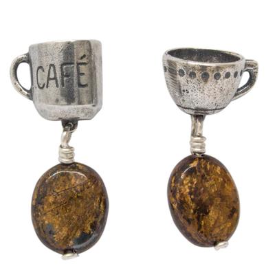 Jasper and Sterling Silver Coffee Theme Dangle Earrings