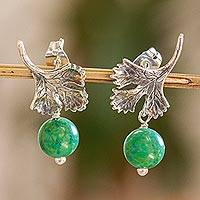 Cultured pearl dangle earrings, 'Singular Cilantro' - White Pearls and Sterling Silver Cilantro Leaf Earrings