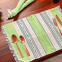 Zapotec cotton placements, 'Oaxaca Meadow' (set of 4) - Green and Beige Hand Woven Zapotec Placemats (Set of 4)