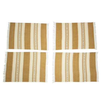 Zapotec cotton placements, 'Oaxaca Earth' (set of 4) - Four Hand Woven Brown and Beige Cotton Zapotec Placemats