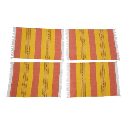 Zapotec cotton placements, 'Oaxaca Sunset' (set of 4) - Zapotec Orange and Yellow Hand-Loomed Placemats (Set of 4)