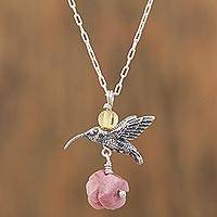 Rhodochrosite and amber flower necklace, 'Hummingbird Treasure' - Rhodochrosite and Amber Sterling Silver Bird Necklace