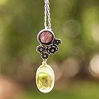 Amber and rhodochrosite flower necklace, 'Flowers of Harmony' - Amber and Rhodochrosite on Antiqued Sterling Silver Necklace