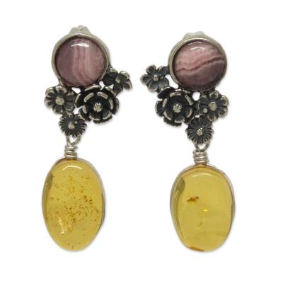 Amber and rhodochrosite flower earrings, 'Flowers of Harmony' - Amber and Rhodochrosite on Antiqued Sterling Silver Earrings