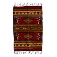 Zapotec wool rug, 'Sun Duality' (2x3) - Authentic Handwoven Zapotec Wool Rug (2 x 3 Feet)