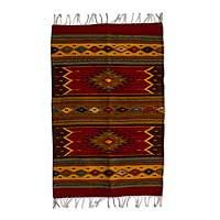 Zapotec wool rug, 'Sun Duality' (2x3)