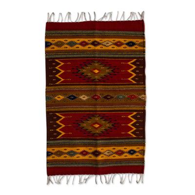 Zapotec wool rug, 'Sun Duality' (2x3) - Authentic Handwoven Zapotec Wool Rug (2 x 3 Feet)