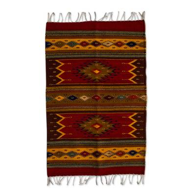 Authentic Handwoven Zapotec Wool Rug (2 x 3 Feet)