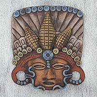 Ceramic mask, 'In Honor of Maize' - Mexican Pre-Hispanic Style Signed Ceramic Mask