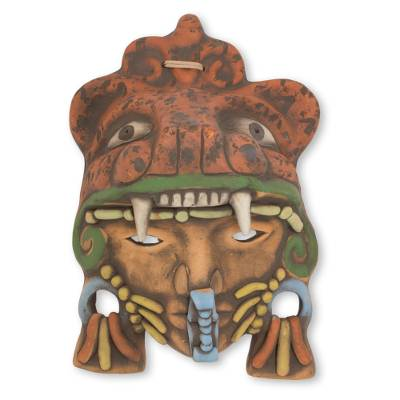 Artisan Crafted Mexican Ceramic Aztec Jaguar Warrior Mask