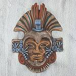 Handcrafted Mexican Ceramic Aztec Eagle Warrior Mask, 'Aztec Eagle Warrior'