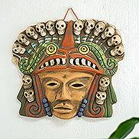 Ceramic mask, 'Quetzalcoatl Death Dance' - Mexican Ceramic Pre-Hispanic Mask with Skulls