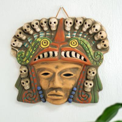 Ceramic mask, 'Quetzalcoatl Death Dance' - Mexican Ceramic Pre-Hispanic Mask with Skulls