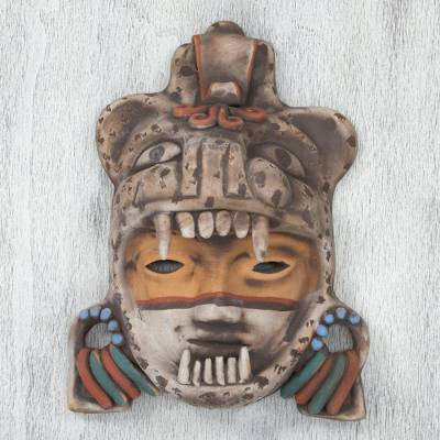 Ceramic mask, 'Tlaxcala Jaguar Warrior' - Signed Handcrafted Mexican Ceramic Jaguar Warrior Mask