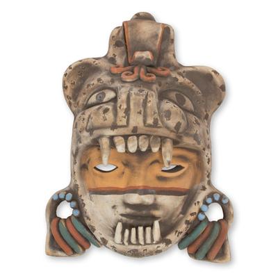 Ceramic mask, 'Tlaxcala Jaguar Warrior' - Signed Handcrafted Mexican Ceramic Jaguar Warrior Mask