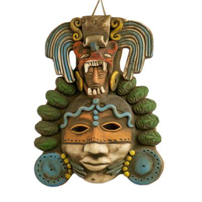 Signed Handcrafted Mexican Ceramic Jaguar-Man Mask
