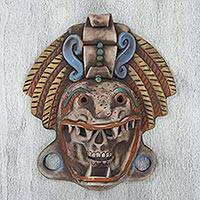 Ceramic mask, 'Quetzalcoatl Warrior' - Handcrafted Mexican Ceramic Skull and Serpent Mask