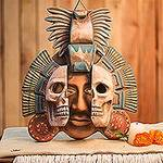 Handcrafted Mexican Ceramic Skull Mask, 'Life and Death in Teotihuacan'